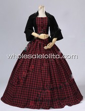 Civil War Victorian Velvet Tartan Ball Gown Dress