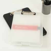 Black And White Classic Multifunctional File Organizer Plastic Clipboard Box File Case File Folder Pen Hold