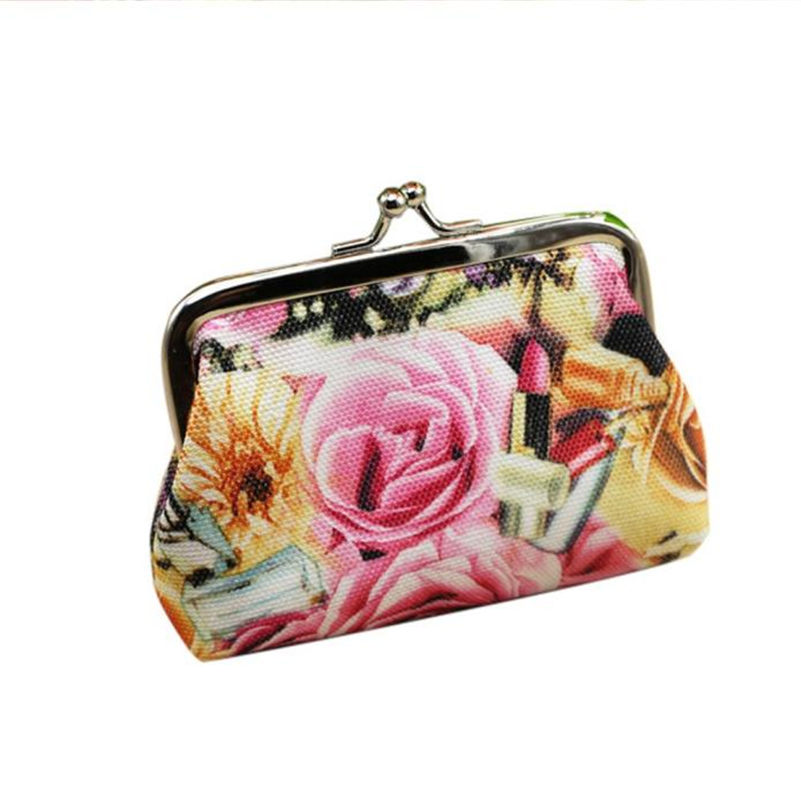 New Design Luxury Brand Fashion Women Lady Coin Bag Retro Vintage Rose Flower Canvas Wallet Hasp Purse Clutch Bag