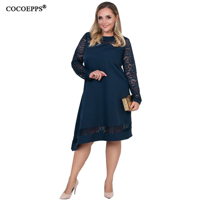 a4f2a8046f1 COCOEPPS 6XL Dress Plus Size Women Clothing Lace Autumn Dresses Rob loose  dress Large Sizes Casual Office Winter Vestidos