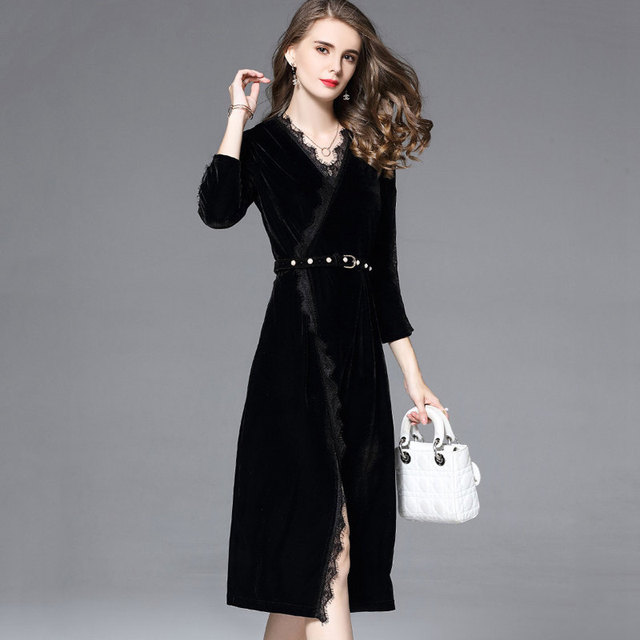 Veludo Vestidos Mujer Winter 2019 Velour Dress Black Lace Patchwork