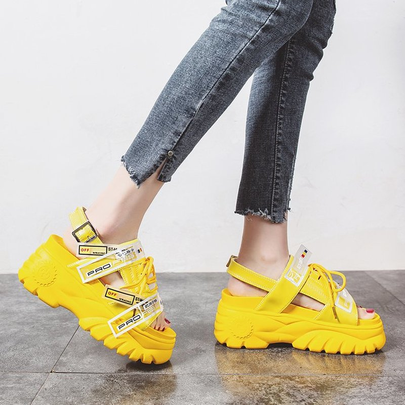 High Platform Women's Chunky Sandals 2019 Fashion Summer Leather Women Thick Soled Beach Sandal Casual Woman Shoes(China)