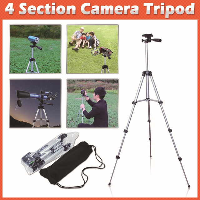 New Compact Flexible Extendable Tripods 4 Sections 1050mm Universal 1/4 Metal Professional Camera Tripod with Bag Free shipping