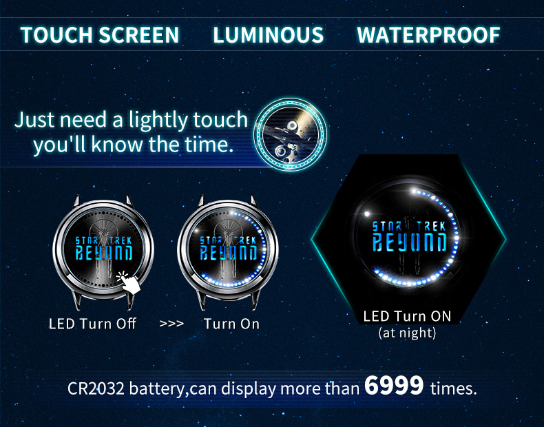 STAR TREK Models Spock Starfleet Spock LED waterproof touch screen watch hot tv series Christmas Gift 3