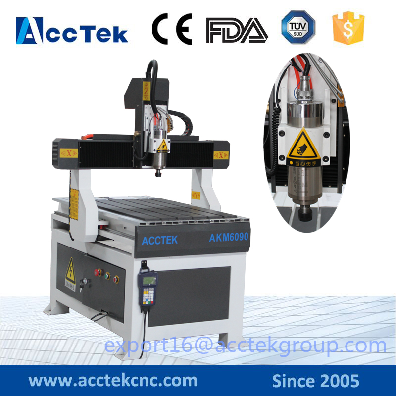 AccTek factory supplier Cheaper air cooled / water cooled 4-axis T-slot /vacuum table AKM6090 diy cnc milling machine mini cnc router rtm 6090 with t slot vacuum table