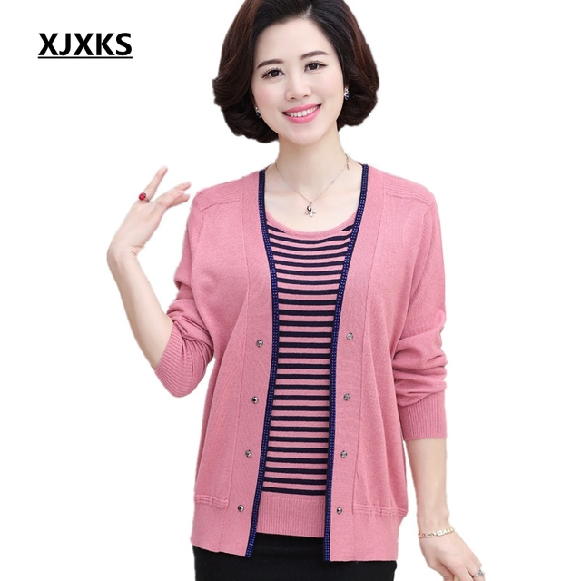 3d1ffec32191 XJXKS New 2018 Spring Autumn Cotton Wool Women Two Pieces Sweater Set Plus  Size Twinset Casual Outwear Top+Cardigan Sets