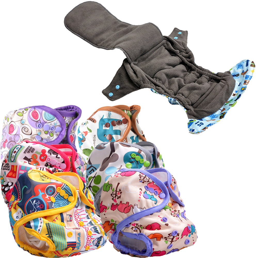 new pattern eco-friendly heavy wetter night Microfleece/Bamboo Charcoal cloth baby diapers with double gussets
