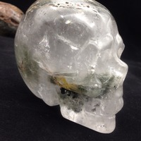 TT363(963g) Crystal New Products Rock and Minerals Green Phantom Crystal Skull Carved Rough Stone Polished Skull Decoration