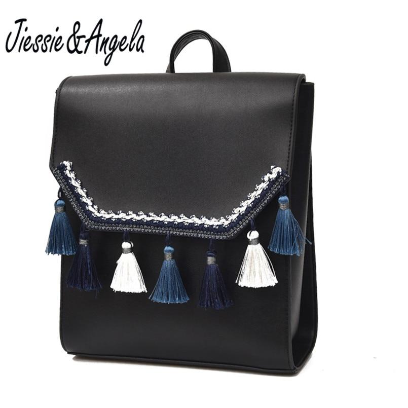 Jiessie Angela Fashion Tassel Backpacks Teenage Girls Backpack High Quality Leather Backpack Women Bag Mochilas Mujer