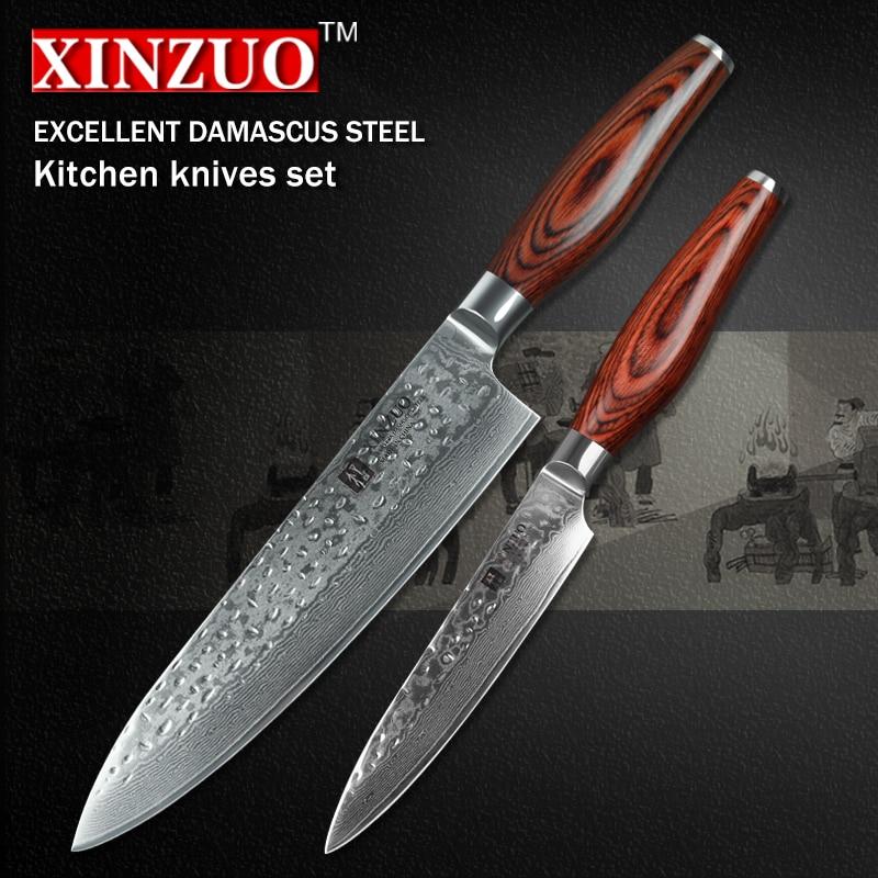 2 Pcs Kitchen Knives Set 73 Layers Japanese Vg10 Damascus Kitchen Knife Very Sharp Chef Utility