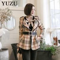 Fashion Winter Coat Wool Women Vintage Blazer Jacket With Belt Elegant Office Lady Khaki Lattice Turn