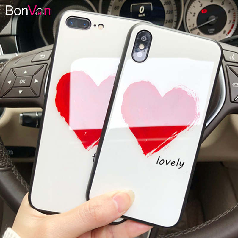 BONVAN For iPhone X 8 Plus Tempered Glass Case Luxury Lovely Hard Back Cover For iPhone 7 8 6S 6 Plus Soft Silicone Bumper Cases