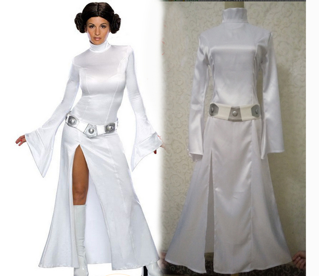 Star Wars Cosplay Princess Leia Organa Costume Set Fancy For Party White Dress