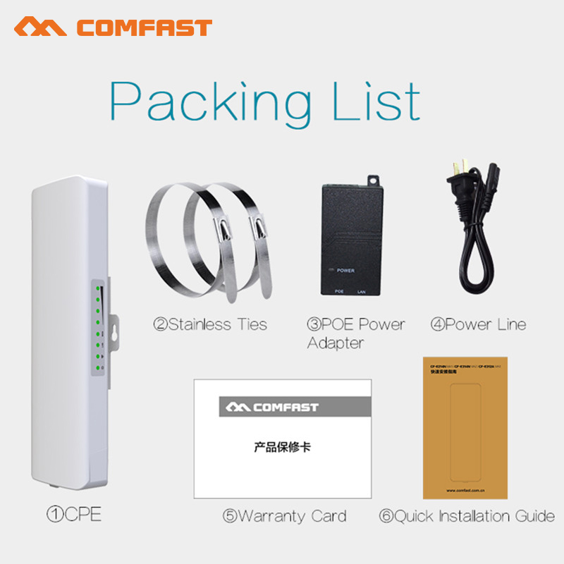 COMFAST wireless bridge CPE 300Mbps 5Ghz signal extender WIFI receiver POE wi fi router Antenna wifi high power wifi repeater