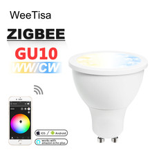 ZIGBEE GU10 LED Spotlight CCT WW CW 5W ZLL Smart APP Control Bulb Light Dual White AC 110V 220V Spot Lamp Alexa