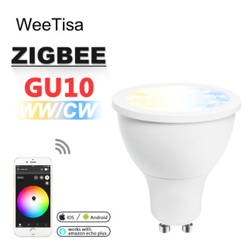 ZIGBEE GU10 LED Spotlight CCT WW CW 5W ZLL Smart APP Control Bulb Light Dual White AC 110V 220V GU10 LED Spot Light Lamp Alexa лампа светодиодная полусфера volpe simple gu10 5w 3000k led jcdr 5w ww gu10 s