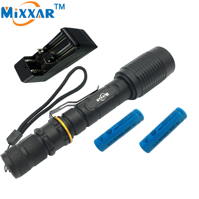 ZK35 LED Zoomable Torch Flashlight CREE XM-L T6 5000LM Flashlight 5 Mode Light Suitable Two 5000mAh Batteries Charger cree xm l t6 bicycle light 6000lumens bike light 7modes torch zoomable led flashlight 18650 battery charger bicycle clip