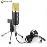 Professional USB Condenser Microphone Sound Audio Recording Wired With Stand For Radio Braodcasting BM300