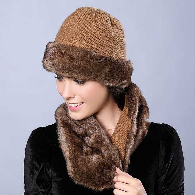 Womens Winter Hats with Infinity Scarf Set Faux Fur Solid Color Skullies    Beanies Two Sides Available Bow-ties Knit Female Cap 2f25a9783d5