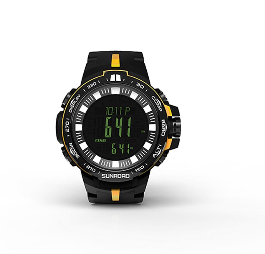 SUNROAD Digital Men Sport Watch Outdoor Barometer Compass Altimeter Temperature Hiking Swimming Sports Watches Relogio Yellow