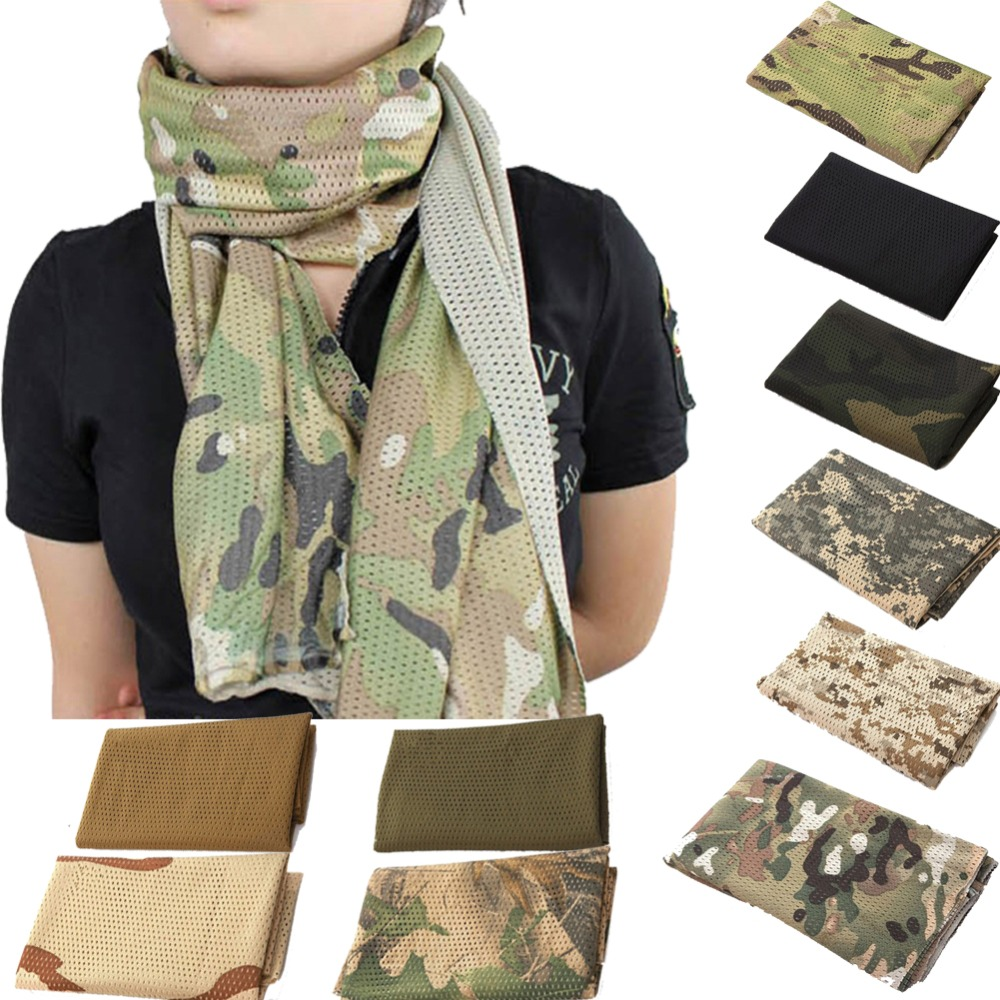 Outdoor Military Scarves Unisex Fish Net Mesh Tactical Camouflage Scarf Veil Neckerchief For Activities And War CS Jungle Game