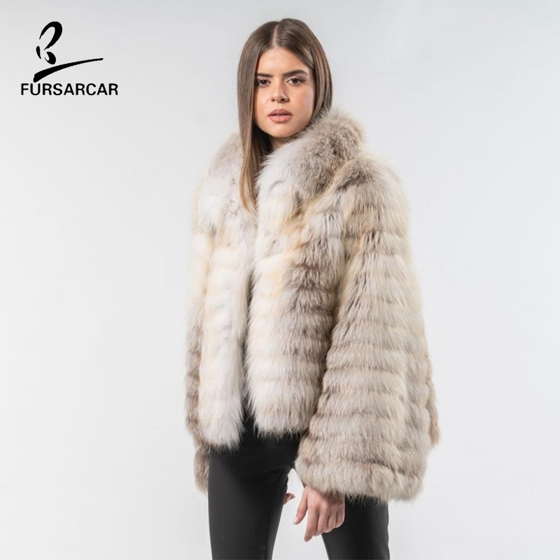 FURSARCAR 2019 New Women Real Silver Fox Fur Winter Coat With Fur Collar Fashion Casual Genuine Natural Fur Jacket For Female