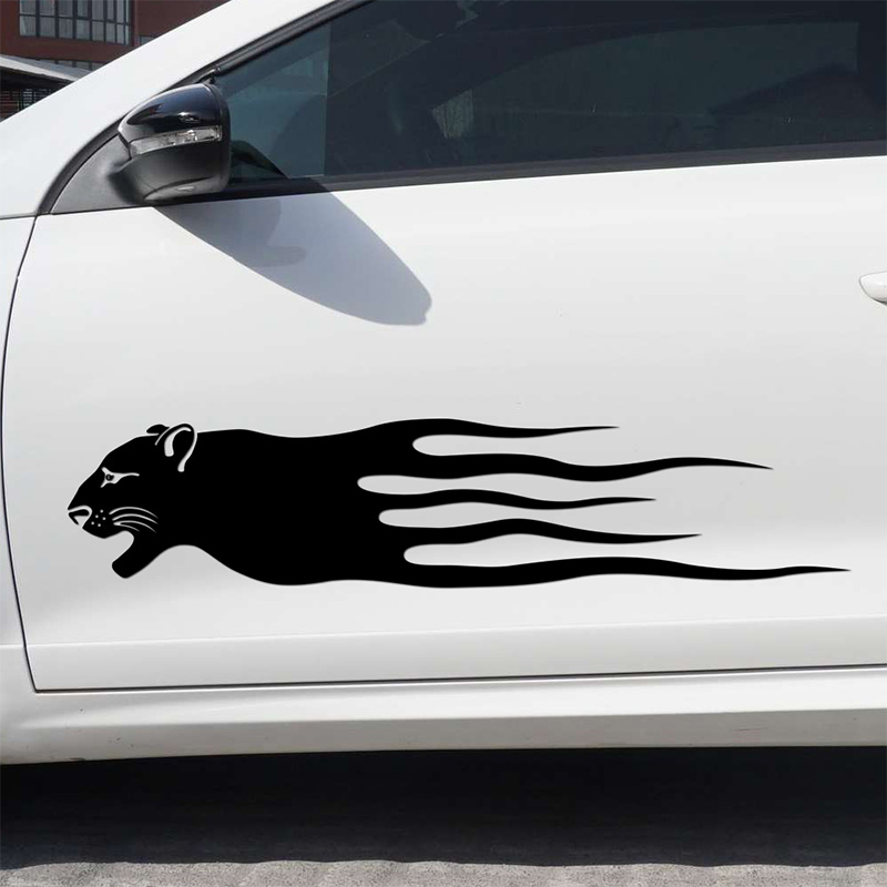 1 Pair Leopard Fire Sport On Car Doors Sticker Car-styling For bmw opel Ford VW volkswagen toyota car accessories