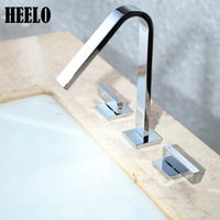 Brass Electroplate Silver Kitchen Faucets Crane Waterfall Basin Faucet 8 Square Double Handles Sink Taps Hot
