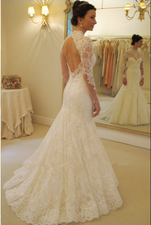 2017 Charming Custom Corded Lace Chapel Train Wedding Dress High ...