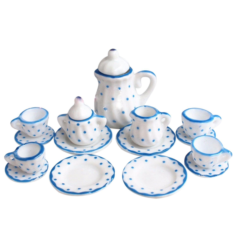 HOT SALE Dollhouse Miniature 1:12 Toy Kitchen Dining Room 15 pc Porcelaine Tea Set