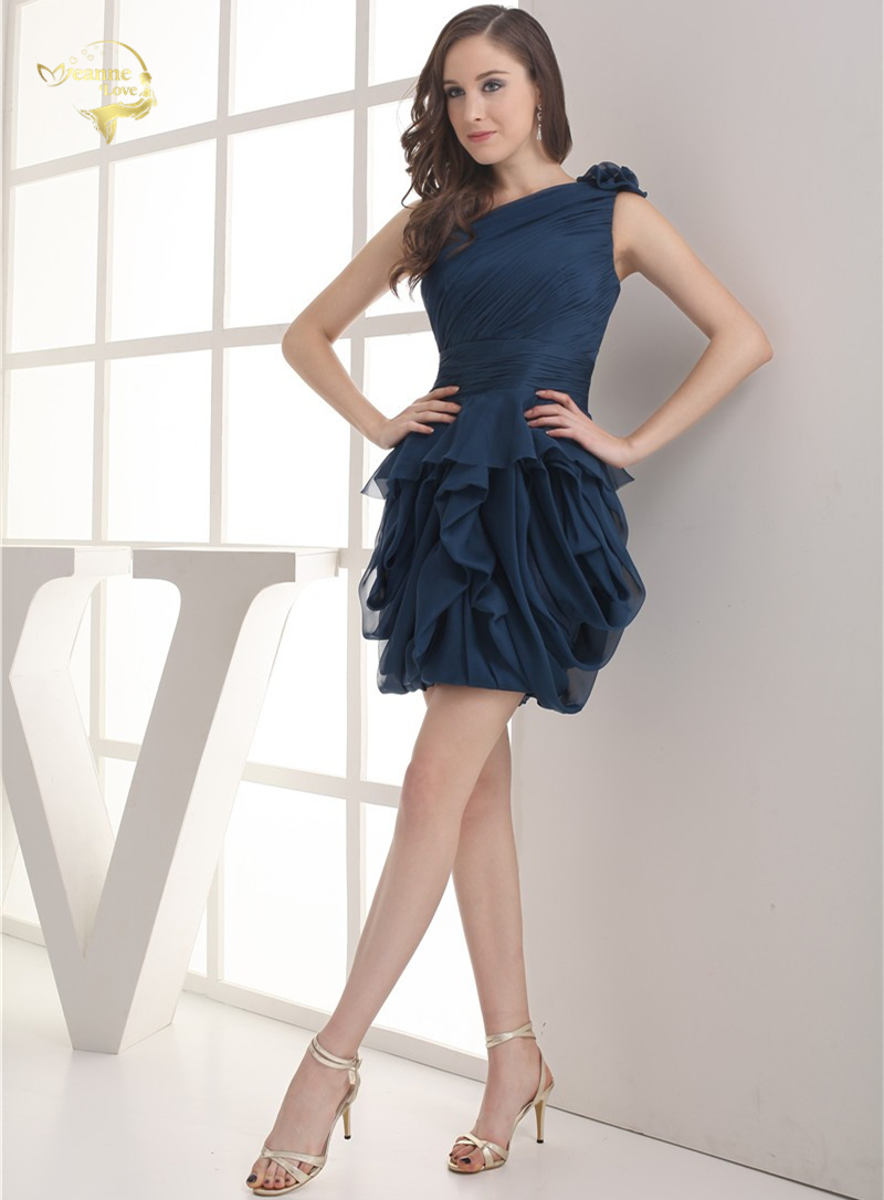 2018 NEW ARRIVAL Cheap Price Vestidos De Formatura Mini Chiffon Fold One Shoulder Flower Short Cocktail Dresses 2018 HCK1235 4
