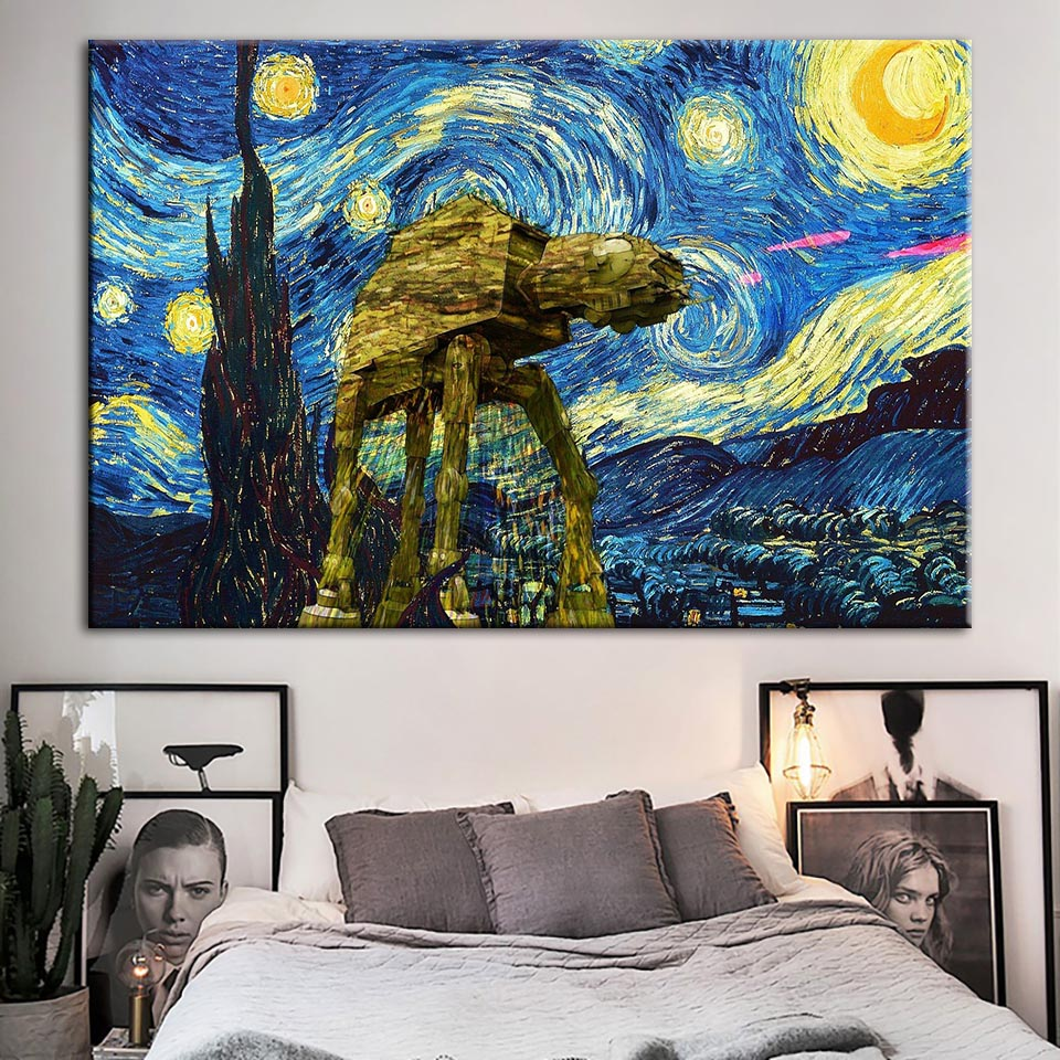 Modular Hd Prints Pictures Home Decoration Star Wars Painting Watercolor Movie Canvas Poster Wall Art For Living Room Framework image