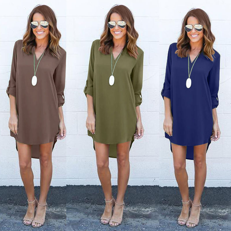 d7526826a42 2017 Newest Women Long Sleeve Spring Summer Dress Loose Waist Solid Shirt  Dress Ladies Woman Casual