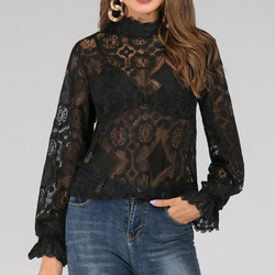 Sexy Perspective Women T-Shirt Summer White Hollow Loose Batwing Long Sleeve Tshirt Women Casual Lace Floral Fashion T Shirt Top 2