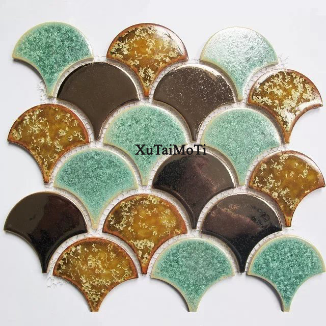 11PCS fish scale ceramic mosaic tile kitchen backsplash bathroom tv background wall tiles shower porcelain interior wallpaper
