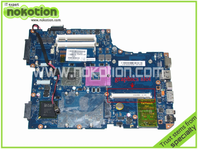NOKOTION K000078380 KSKAA LA-4991P Laptop Motherboard for Toshiba A500 intel  GM45 DDR2 with graphics slot Mainboard k000055760 laptop motherboard for toshiba satellite a200 a205 iskaa la 3481p rev 2a intel gl960 ddr2 without graphcis slot