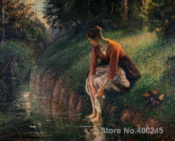 Canvas Art Reproduction Young Woman Bathing Her Feet in a Brook Camille Pissarro Paintings for sale hand-painted High quality