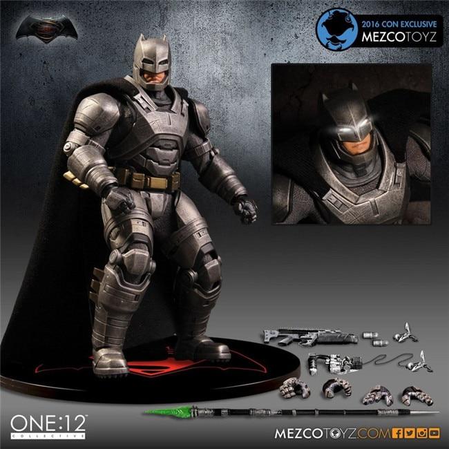 MEZCO Armor Batman One : 12 Collective High Quality 6cm BJD PVC Super Hero Action Figure Free Shipping mezco the punisher figure one 12 collective 6 action figure free shipping