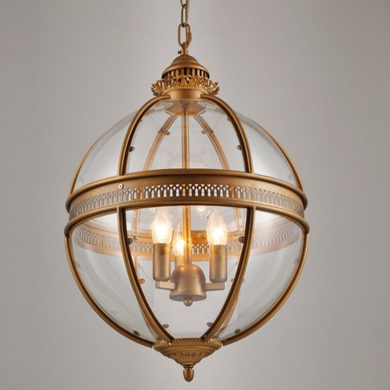 Hanging Light Round: Vintage Loft Glass Globe Pendant Light Iron Round Ball
