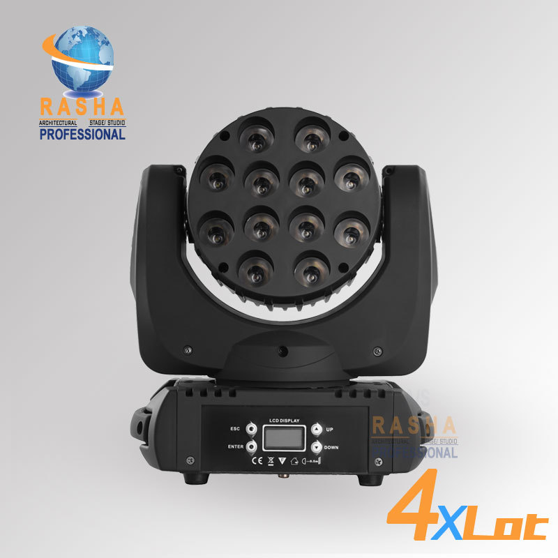 4X LOT High Quality 12*10W 4IN1 Cree RGBW LED Beam Moving Head Light With LCD Display,Powercon DMX IN&OUT With 4in1 Flight case