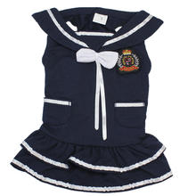 Pet Puppy Dog Navy Style Dress Clothes Cotton Comfortable for Spring Summer