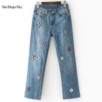 SheMujerSky High Waist Jeans Femme Beading Women Washed Blue Denim Hole Long Trousers Autumn