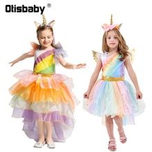 Halloween Carnival Unicorn Costume Girls Infant Dress Kids Birthday Princess Rainbow Tutu Christmas Clothing