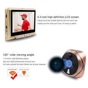 "Image 2 - 4.3 ""LCD شاشة ملونة فيديو العين مراقب الباب الأشعة تحت الحمراء للرؤية الليلية البصرية باب كاميرا بثقب دقيق صور/فيديو جرس الباب الرقمي كاميرا"