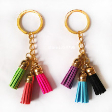 2016 Fashion Mixed 3 color Superfine Fiber Tassel Keychains Golden Body Key Ring Women Bag Charming Pendant Car Holder
