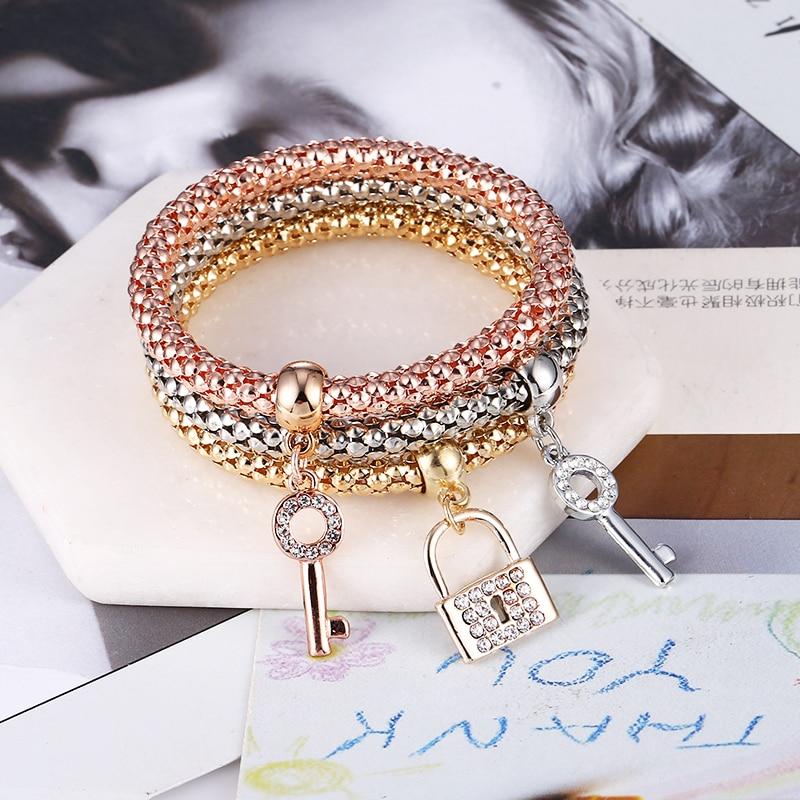 WNGMNGL Wholesale Ethnic Bracelet With Key Lock Pendants Gifts 3Pcs/Set New Crystal Elastic For Women Pulseira Feminina