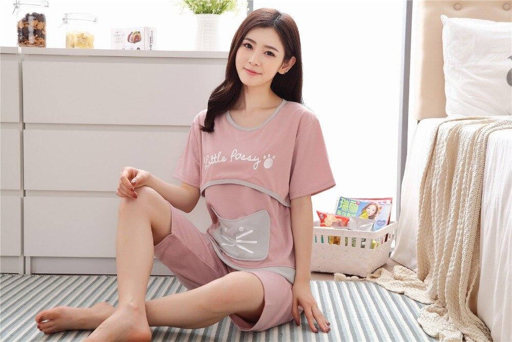de Manga Curta Sleepwear Conjunto Verão Roupas de Maternidade