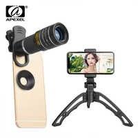 APEXEL 20X teleobjetivo con zoom portátil 20x telescopio monocular lentes con trípode selfie para iPhone Samsung Smartphones 20XJJ04