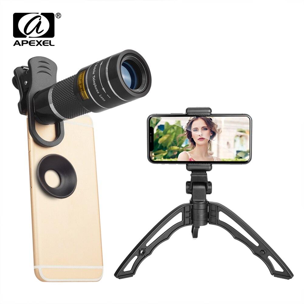 APEXEL 20X Lente Zoom Telefoto 20x lentes do telescópio monocular com tripé selfie portátil para o iphone Samsung Smartphones 20XJJ04