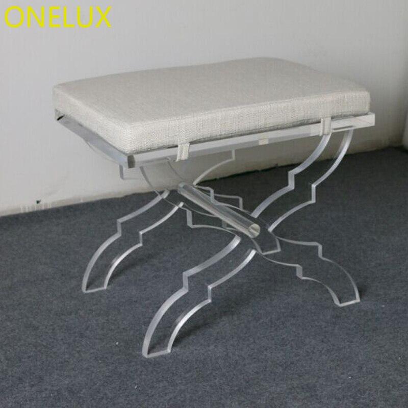 Acrylique x-base tabouret siège en lin, Lucite X jambe vanité tabouret/ottomans/banc avec coussin